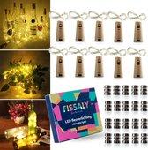 Fissaly® 10 Stuks Led Kurk Flesverlichting Decoratie incl. Batterijen – Feestverlichting & Sfeerlampen - Bottle light Verlichting - Inclusief 60 batterijen
