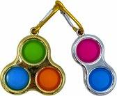 Simple-Dimple-Tripple Goud-Zilver-Roze-Blauw-Fidget-Sleutelhanger