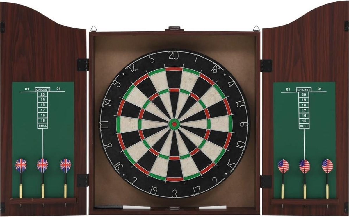Hip-Wonen.nl - Professioneel Dartbord + Dartkabinet + Dartpijlen - Dartset - 45 x 3,8 cm