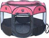 Puppyren / hondenren / puppytent draagbaar Maat S - Magenta / zwart - Afmeting: 73 x 73 x 43 CM