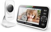HelloBaby HB50 Babyfoon met camera - Extra Groot LCD display - Nachtzicht - Terugspreekfunctie - Temperatuurcontrole - Slaapliedjes - Zoomfunctie