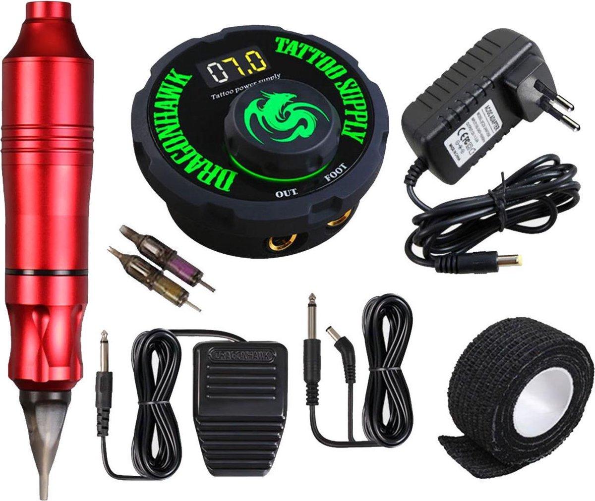 Dragonhawk Professionele Rotary Tattoo Machine - Complete set met power supply en naalden