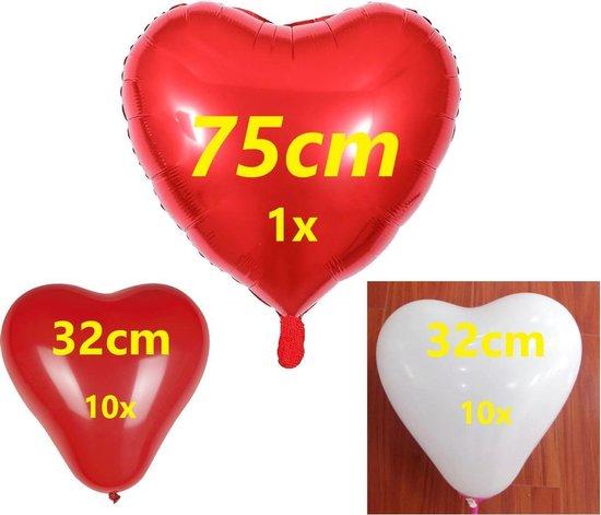 Hartjes Ballonnen / 21 rode en witte hartjes ballonnen voor huwelijk / verjaardag / verloving versiering / Hartjes decoratie.