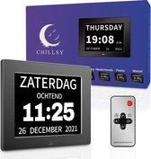 Digitale Dementieklok XL – Kalenderklok met Datum en Dag – Alarmfunctie – Alzheimerklok - 8 inch