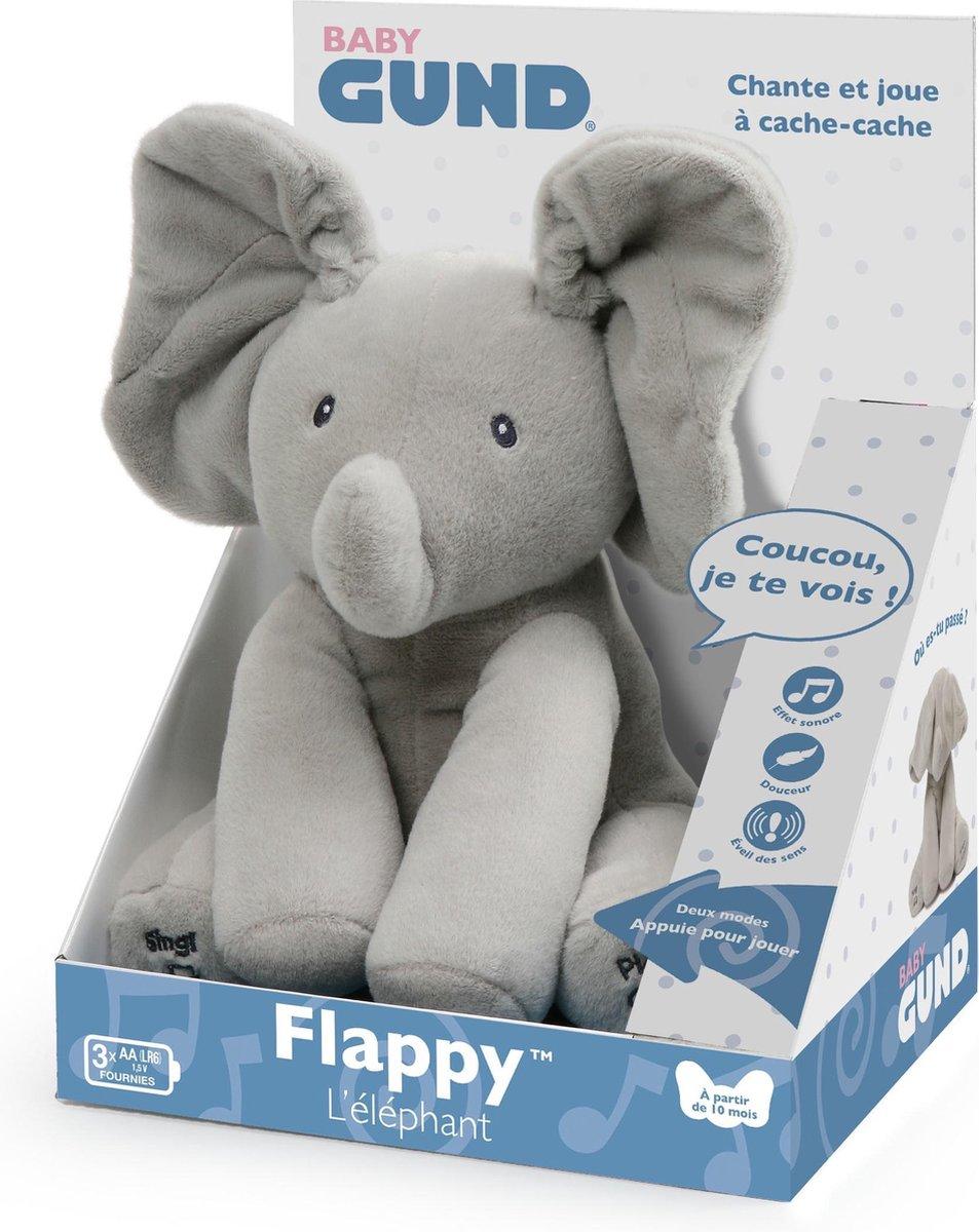 GUND Baby geanimeerde Flappy de olifant knuffel, grijs, 30,5 cm - Frans Gesproken