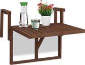 relaxdays Balkontafel inklapbaar - klaptafel balkon - tafel reling - hangtafel hout