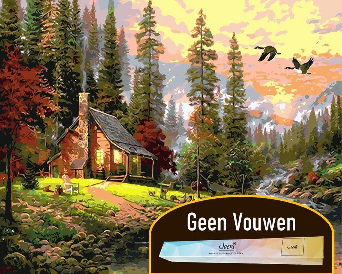 Joeni® Schilderen op nummer - 40x50 cm - Landschap: Jagershut in de Natuur - Volwassenen - Geschenkverpakking