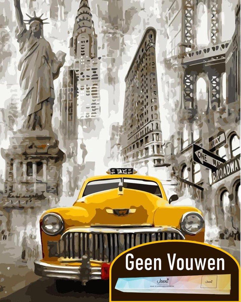 Joeni® Schilderen op nummer - 50x70 cm XXL - Steden: Auto in New York (Zwart Wit) - Volwassenen - Geschenkverpakking