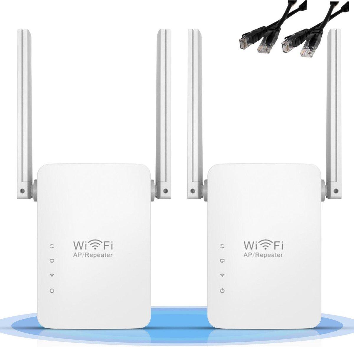 Ilona Wifi Versterker 2 stuks (duo pack) inclusief twee netwerkkabel | Wifi Repeater | range extender | stopcontact |