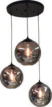 hanglamp 3 lichts smoke Bol glas bollamp