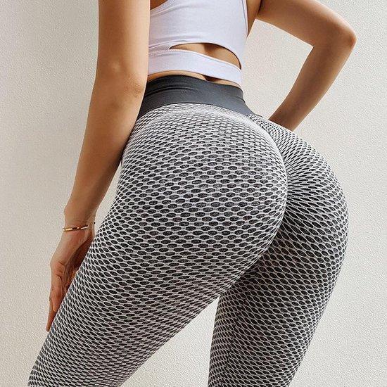 TikTok Legging - Dames - Butt lifting - TikTok broek - TikTok Yogapants - Grijs/wit - Maat Small