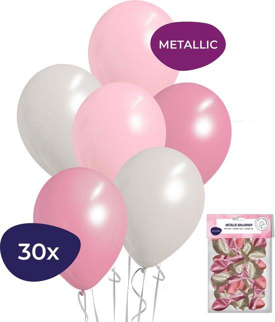 Babyshower Versiering - Geboorte Versiering Meisje - Gender Reveal Versiering - Helium Ballonnen - 30 stuks