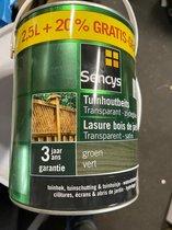 Sencys tuinhoutbeits transparant zijdeglans groen 3L - 30m2 rendement - voor het behandelen van tuinhekken, schuttingen, tuinhuisjes, poorten en tuinmeubelen.