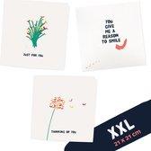 XXL VOOR JOU Gevouwen wenskaarten set 21x21 cm inclusief envelop  - voor jou - moederdag - zomaar - denk aan jou - bloemen