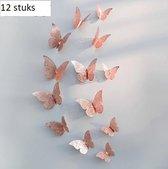 3D rosé gouden Vlinders Muurstickers - Unieke Muurdecoratie - Muurvlinders - Verschillende afmetingen - 12 Stuks - rosé gouden Vlinders