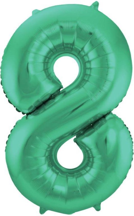 cijferballon 8 groen, 40 inch kindercrea