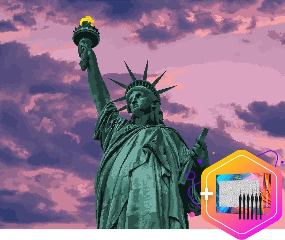 Pcasso ® Vrijheidsbeeld paars - Schilderen Op Nummer - Incl. 6 Ergonomische Penselen & Geschenkverpakking - Schilderen Op Nummer Volwassenen - Statue of Liberty - Kleuren Op Nummer - 40x50 cm - Professionele 26-Delige Set