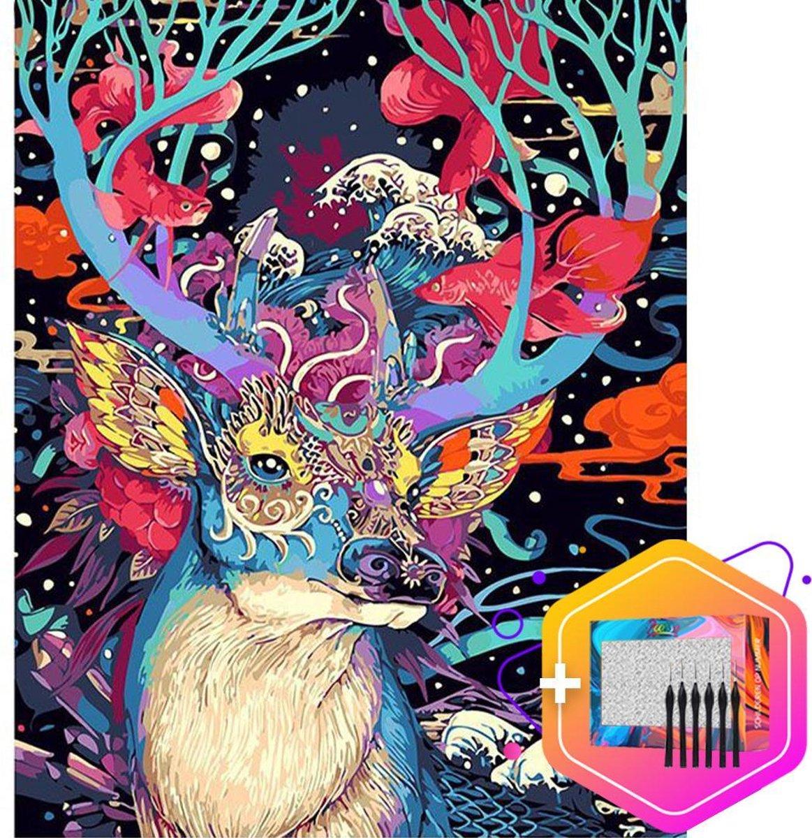 Pcasso ® Hert Colorful - Schilderen Op Nummer - Incl. 6 Ergonomische Penselen & Geschenkverpakking - Schilderen Op Nummer Volwassenen - Schilderen Op Nummer Dieren - Kleuren Op Nummer - 40x50 cm - Professionele 26-Delige Set