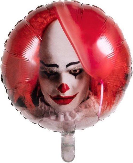 Boland Folieballon Horror Clown 45 Cm Rood/wit