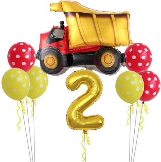 Geweldig 11 delig ballonpakket met grote Kiepwagen en groot cijfer 2 (80 cm hoog)