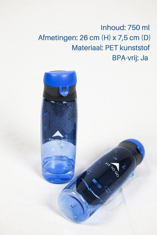 Bidon met opbergvakje - Waterfles - Sportbidon - Sportartikelen voor Fitness/Gym - 750 ml - Fit to go