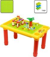 Decopatent® - Kindertafel Bouwtafel - Speeltafel met bouwplaat (geschikt voor LEGO DUPLO) en vlakke kant - 4 Vakken - Met 310 Bouwstenen