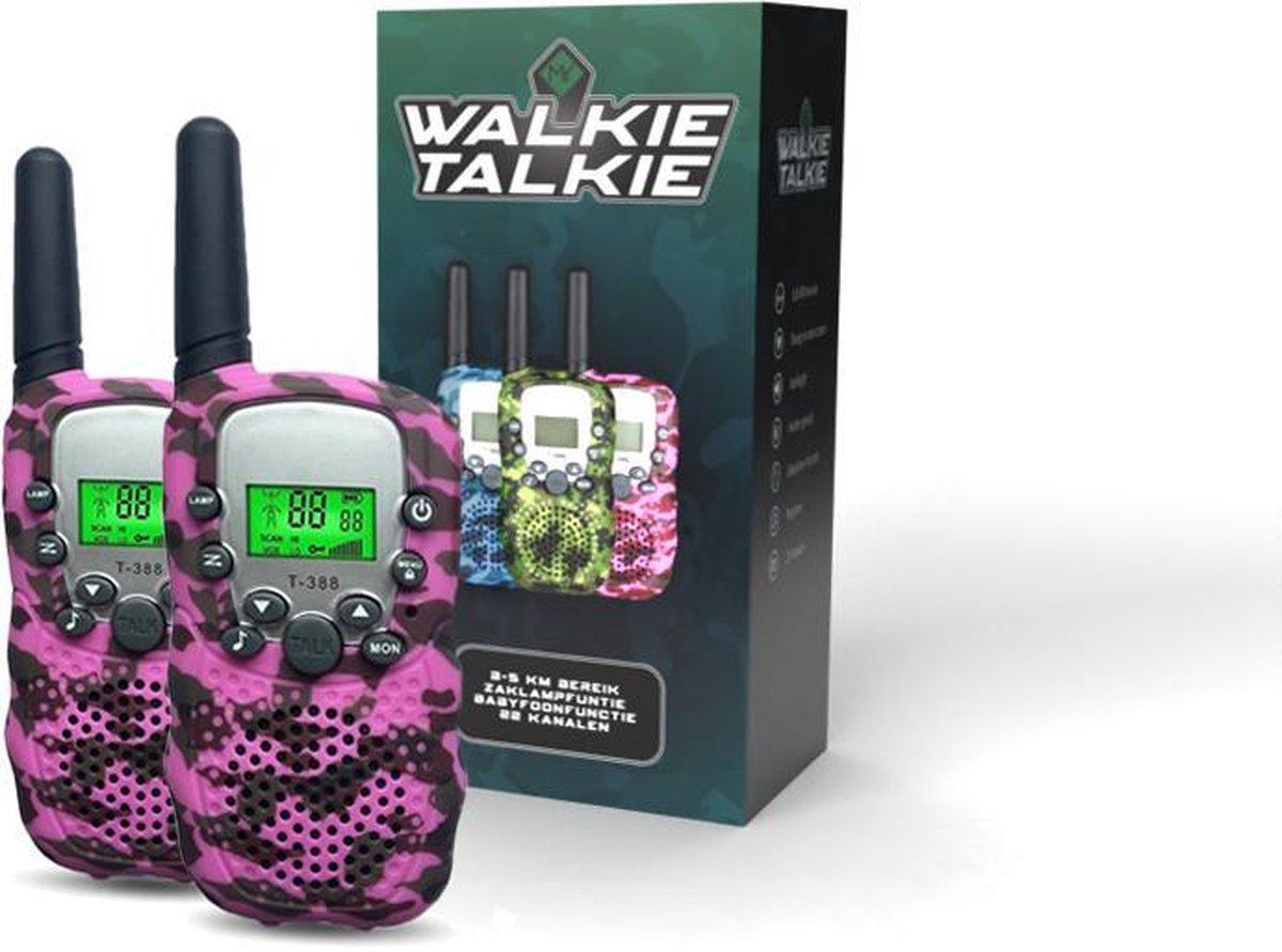 M.Y.© Premium Walkie Talkie Voor Kinderen en Volwassenen - Portofoon Tot 5 KM Bereik - Lichtfunctie - Camouflage Roze - Met bijpassende Koordjes - Roze