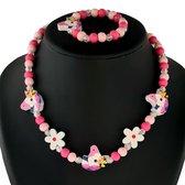 Fako Bijoux® - Kinderketting en Armband - Hout - Eenhoorn & Bloemetjes Roze