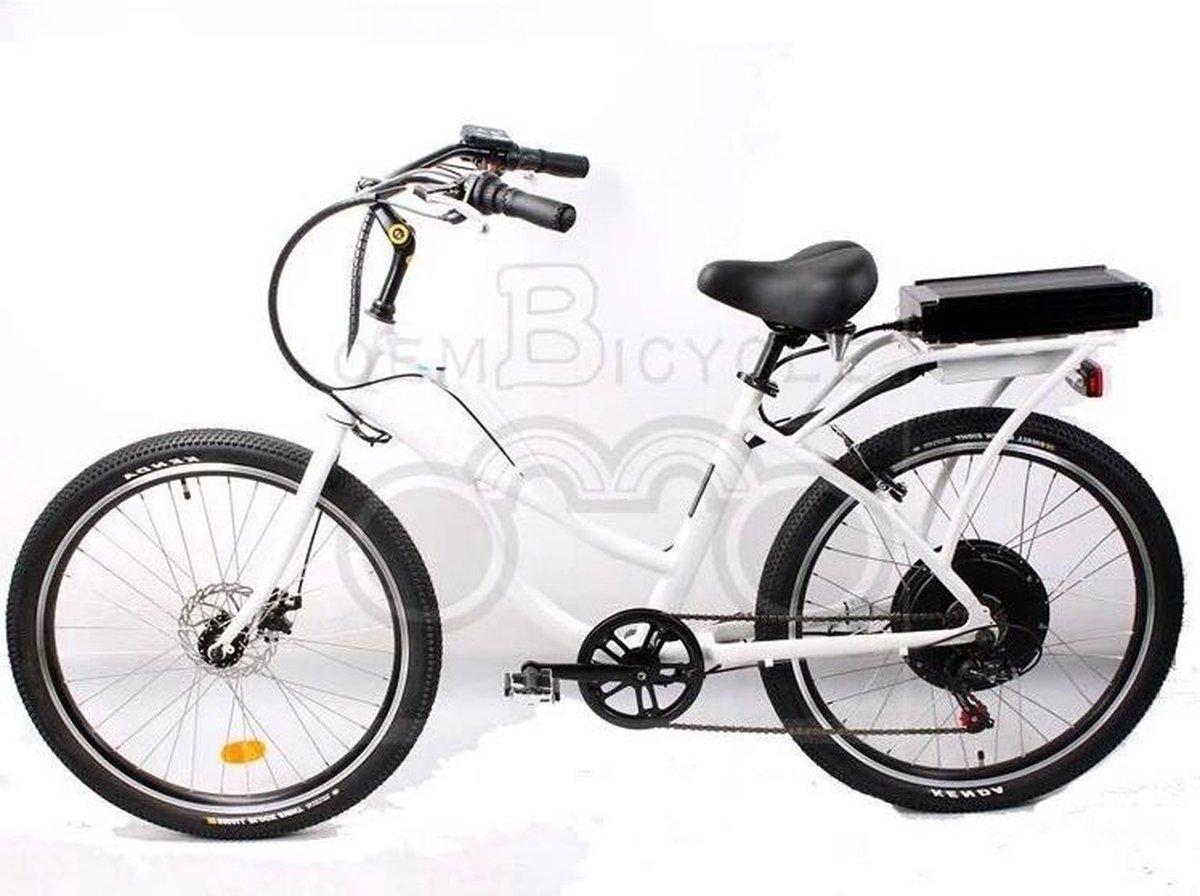 """""""eBike 26""""""""-500W 40km/h 6 versnelling, wit kleur, Aluminium voor Hem & Haar"""""""