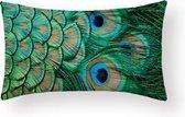 Kussenhoes Peacock - Helder Groen Long - Kussenhoes - 30x50 cm - Sierkussen - Polyester