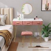 Luxe Kaptafel met Spiegel en Krukje - Wit / Roze - 3 Lades - 100 x 40 x 77 cm - Make Up Tafel