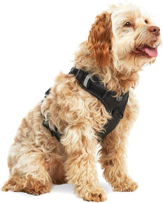 Hondentuigje - Anti-Trek Tuig - Hondenharnas - Reflecterend - Zwart - Maat M