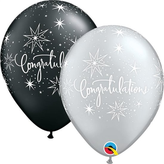 Qtex ballonnen elegant Congratulations (25 stuks)