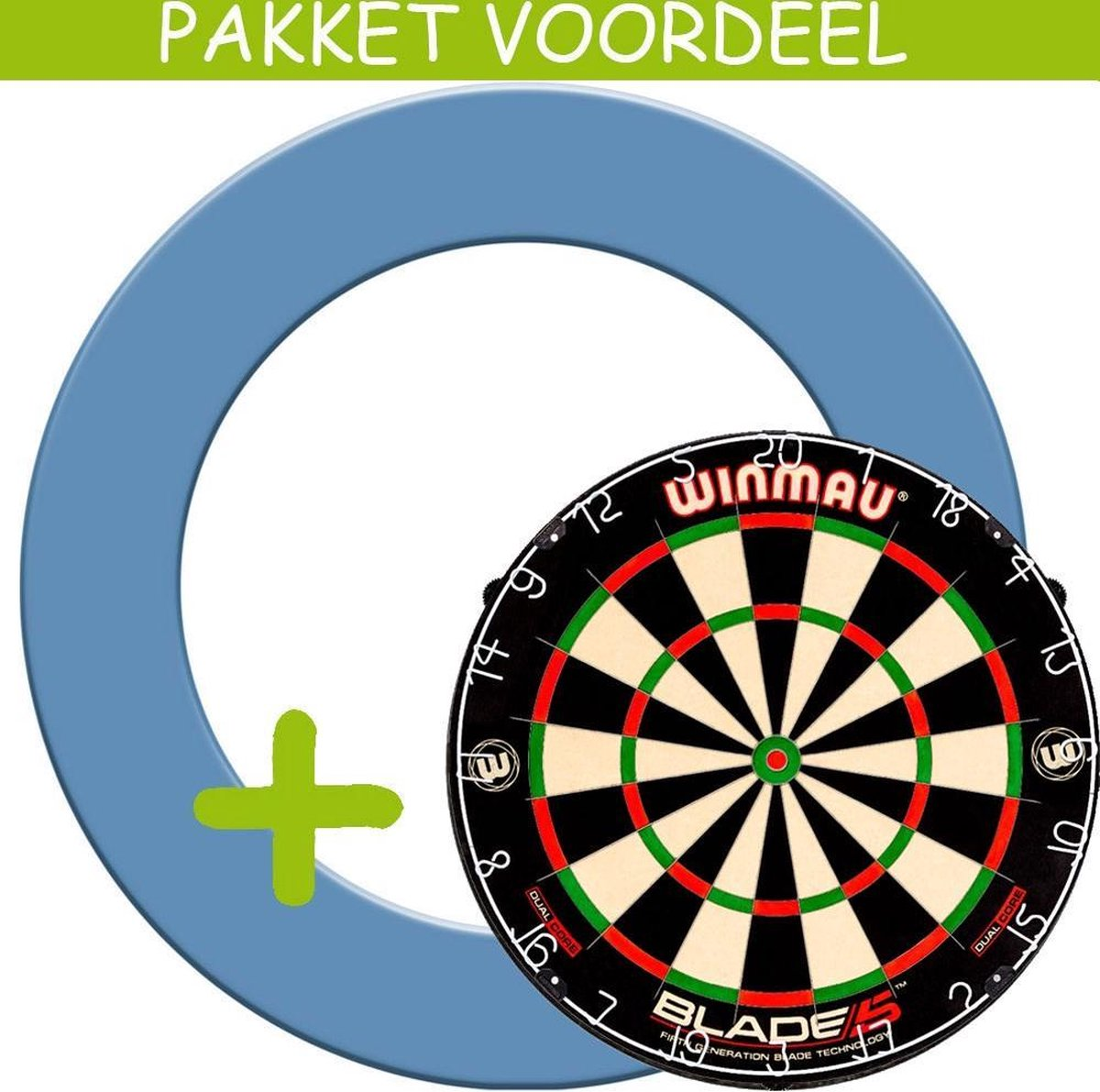 Dartbord Surround VoordeelPakket - Dual Core - Rubberen Surround-- (Aqua)