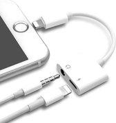 2 in 1 Adapter Opladen Luisteren Voor Apple iPhone 12 Plus XS MAX Splitter 3.5mm Jack Koptelefoon Aux Kabel Telefoon Connector