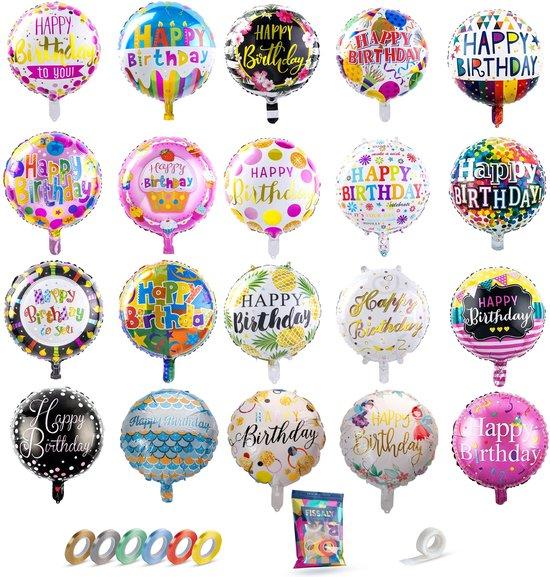 Fissaly® 20 Stuks Happy Birthday Verjaardag Folie Ballonnen – Feest Decoratie Versiering – Helium