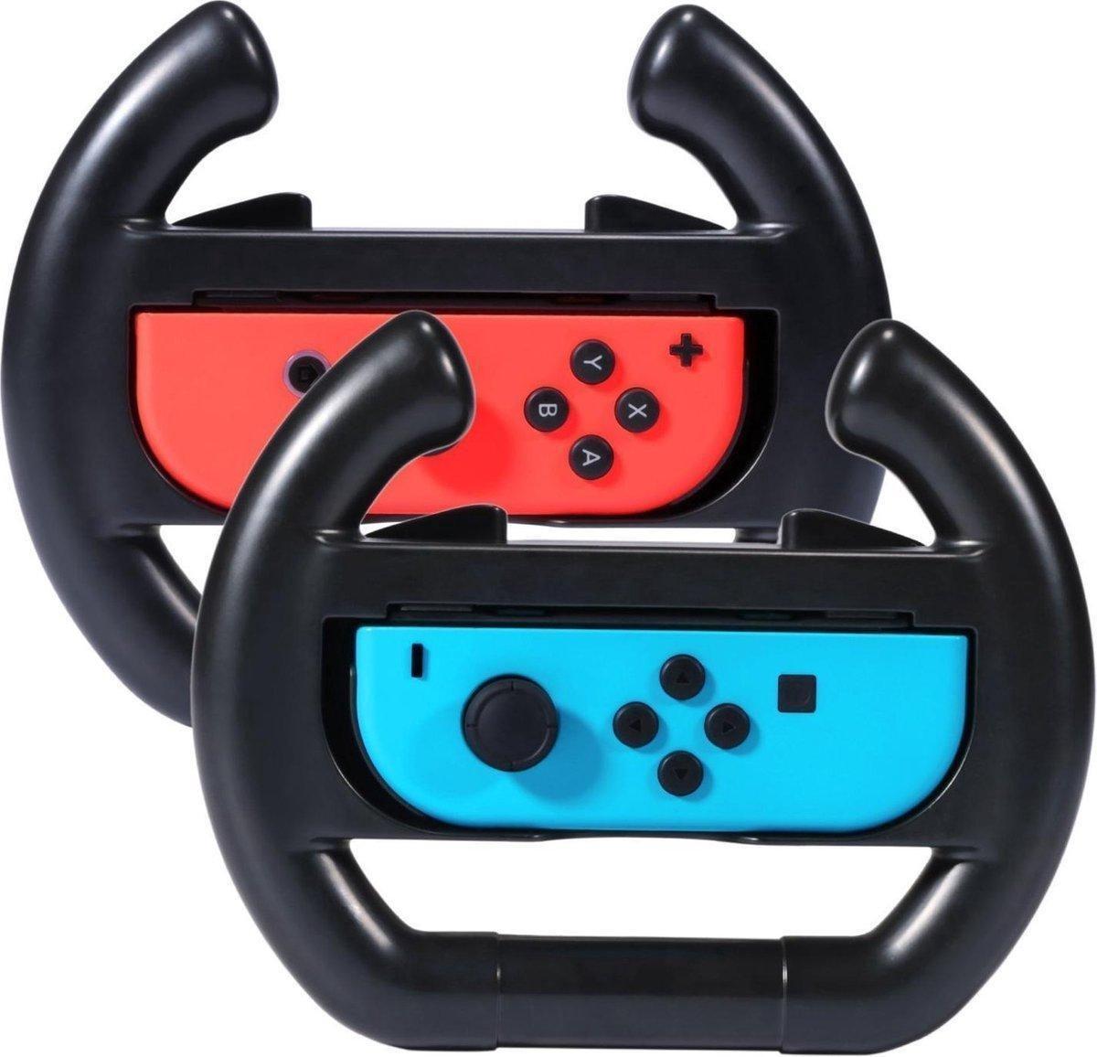 Octronic Joy Con Stuur set Nintendo Switch accessoires - 2 stuks - zwart