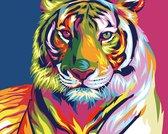 Frenchies® Schilderen Op Nummer Volwassenen - Tijger Kleur Portret Dieren - Canvas - Paint By Number Volwassenen - 40x50 cm - Do It Yourself Painting - DIY Painting