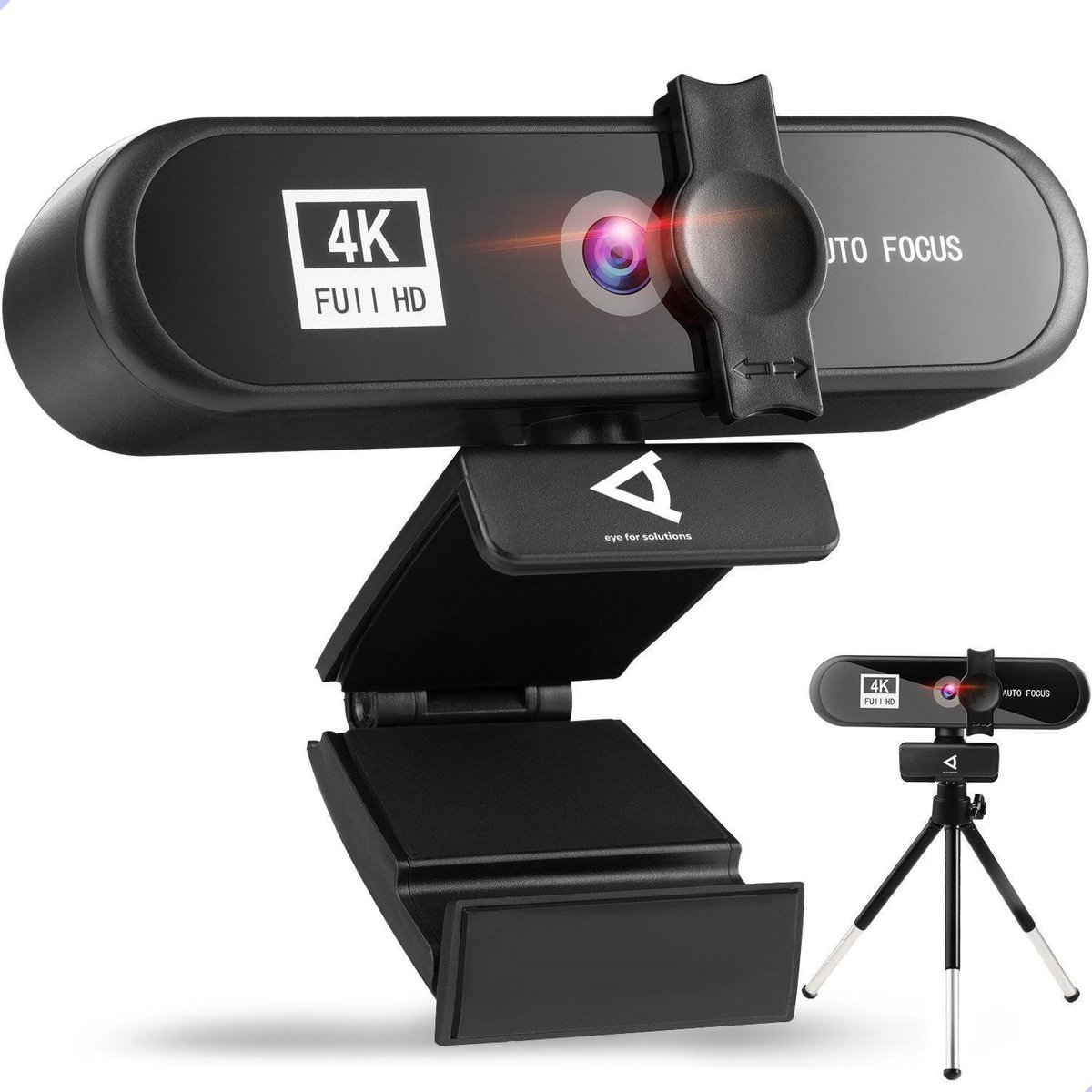 4K Webcam - Ingebouwde microfoon - Inclusief tripod - 3840*2160/30FPS - Inclusief privacy cover - Eye For Solutions