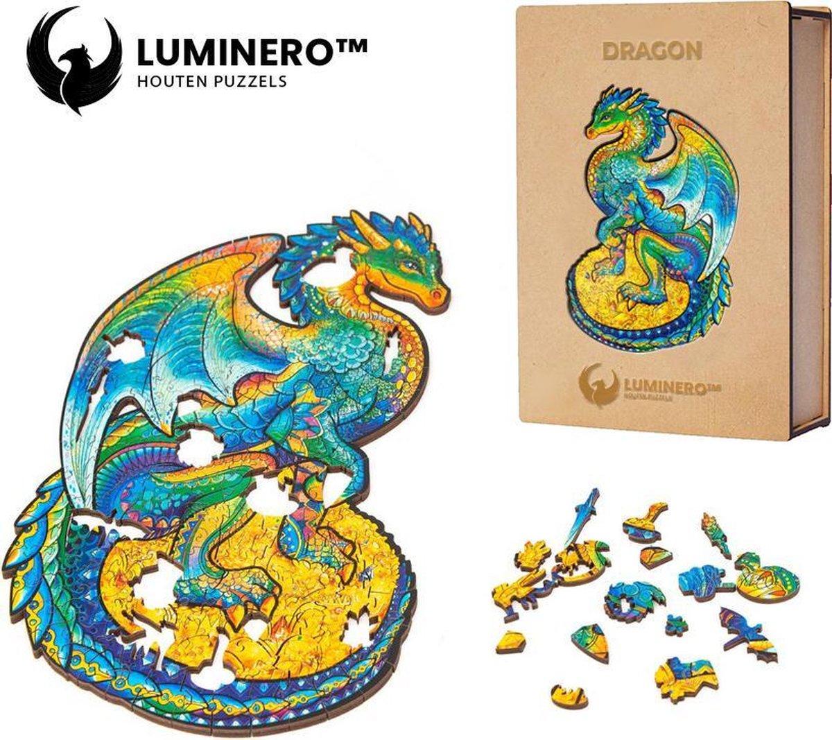 Luminero™ Houten Draak Jigsaw Puzzel - A3 Formaat Jigsaw - Unieke 3D Puzzels - Huisdecoratie - Wooden Puzzle - Volwassenen & Kinderen - Incl. Houten Doos