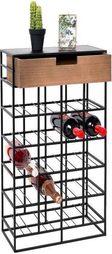 Wijnrek industrieel  | wijnrek hout - wijnrek metaal - wijnkast - wijnrek muur