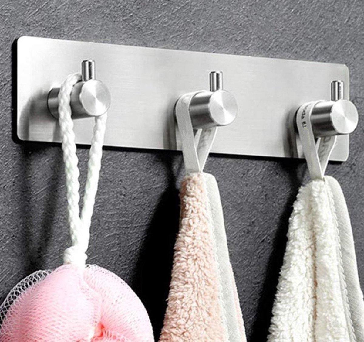 Handdoekhaakjes | RVS | Zelfklevende haakjes | Zilver | Ophanghaken | Wandhaak | Vaatdoekhouder | Handdoekhouder