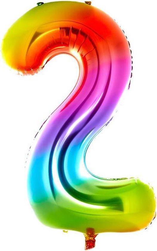Cijfer Ballon nummer 2 - Helium Ballon - Grote verjaardag ballon - 32 INCH - Regenboog  - Met opblaasrietje!