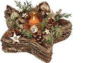 """Kerst - Kerstdecoratie - Kerstdagen - Kerstkrans """"Ster"""" met glazen waxinelichthouder - Bruin   Groen"""