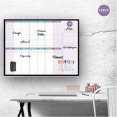 SOFUH® Whiteboard - Weekplanner & Maandplanner – Inclusief Whiteboard marker en Whiteboard wisser – Magnetische whiteboard – Agenda – Memobord, planbord, schoolbord