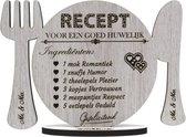Huwelijk - Recept voor een goed huwelijk - houten wenskaart - Mr & Mrs - klein