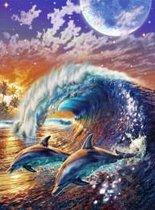 Full Diamond Painting Volwassenen  - Ronde Steentjes  - Volledig Pakket  - Hobby  - Dieren - Springende Dolfijnen in de golven 30x40cm