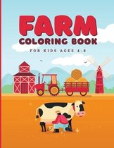 Farm animals coloring book for kids ages 4-8