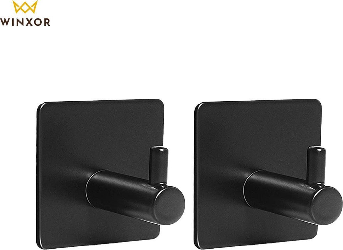 Winxor - Handdoekhaakjes - 2 stuks - Handdoekhouder Zelfklevend - Handdoekhaak Set - Handdoekhaak zonder boren - Badjas Hanger - Badkamer Handdoek haakjes -Vierkant - RVS - Zwart