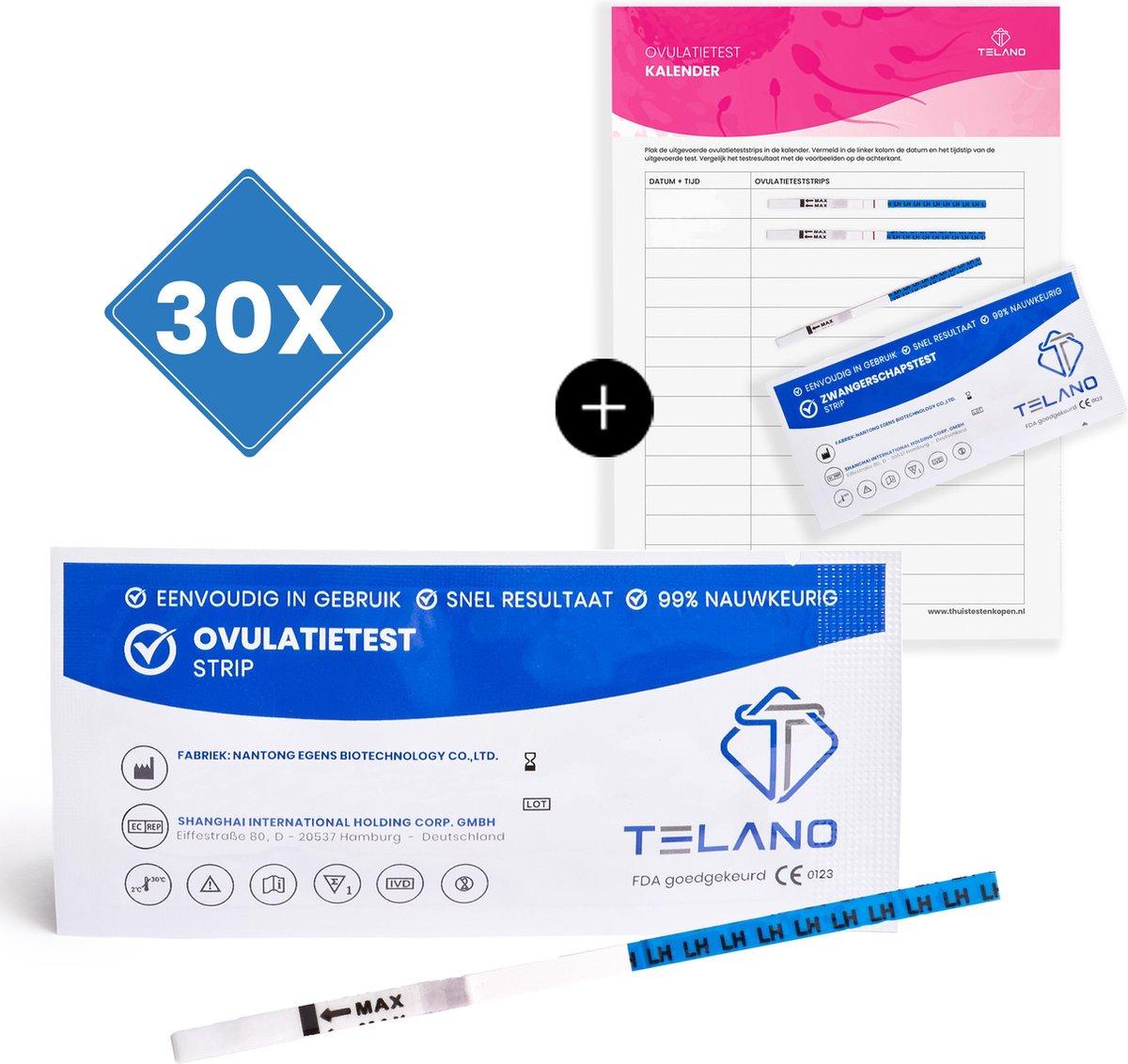 Telano Ovulatietesten Gevoelig 30 stuks - Gratis Zwangerschapstest strip en Ovulatiekalender - Dipst